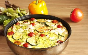 Zucchini-Tomaten-Auflauf mit Soja-Hackfleisch und Paprika