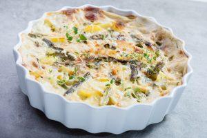 Kartoffel-Spargel-Auflauf mit Soja-Hackfleisch