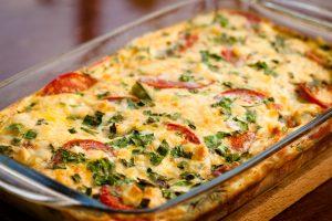 Tomaten-Zucchini-Auflauf mit Soja-Hackfleisch und Prinzessbohnen