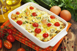 Auflauf mit Tofu, Zucchini und Tomaten