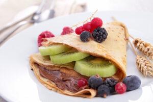 Beeren-Pfannkuchen mit Schoko-Quark